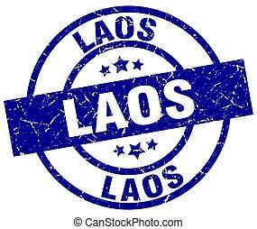 Laos blue round grunge stamp