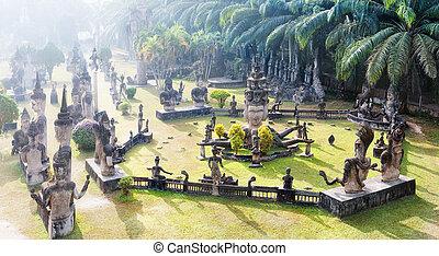 Laos Buddha park.Tourist attraction and public park in Vientiane