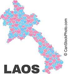 laos, carte, -, mosaïque, de, aimez coeurs