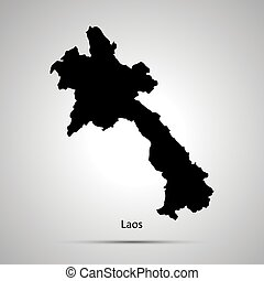 Laos country map, simple black silhouette on gray - Laos...