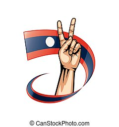 Laos flag and hand on white background. Vector illustration.
