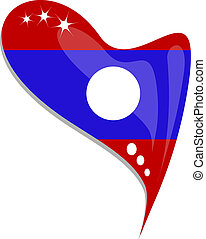 Laos flag button heart shape. vector