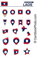 Laos Flag Collection. Big set for design. Vector...