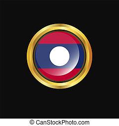 Laos flag Golden button