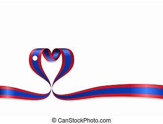 Laos flag heart-shaped ribbon. Vector illustration. - Laos...