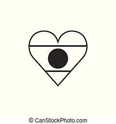 Laos flag icon in a heart shape in black outline flat...