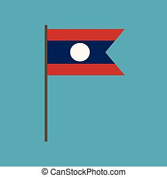 Laos flag icon in flat design. Independence day or National...