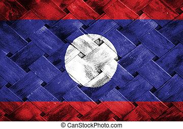 Laos  flag , Laos  flag on Weave Bamboo
