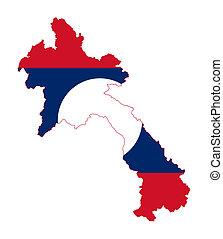 Laos flag on map