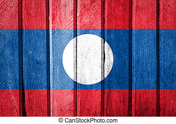 Laos Flag on old wood background