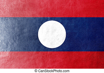 Laos Flag painted on leather texture