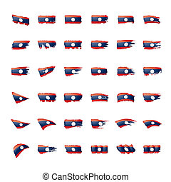 Laos flag, vector illustration on a white background. - Laos...