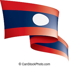 Laos flag, vector illustration on a white background - Laos...