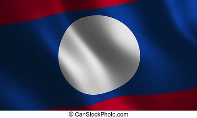 Laos flag waving 3d. Abstract background. Loop animation....