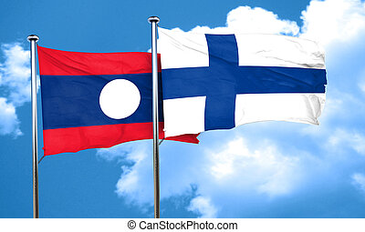Laos flag with Finland flag, 3D rendering