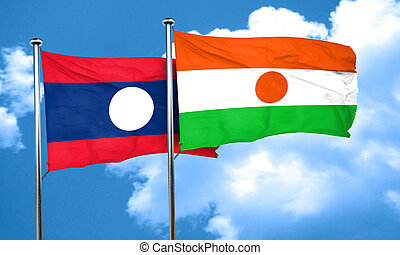 Laos flag with Niger flag, 3D rendering