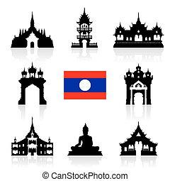 laos Icon Travel Landmarks. - laos Travel Landmarks. Vector...