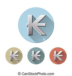 Laos kip symbol - Set of Kip symbol on colored circle flat...