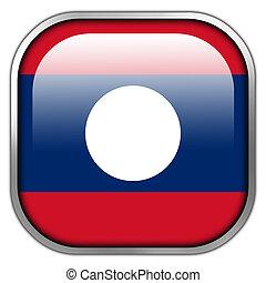 laos, knapp, fyrkant, flagga, glatt