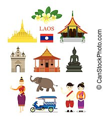 Laos Landmarks and Culture Object Set - Design Elements,...