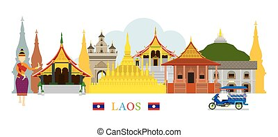 Laos Landmarks Skyline - Cityscape, Travel and Tourist...