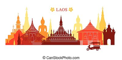 Laos Landmarks Skyline, Colourful - Cityscape, Travel and...