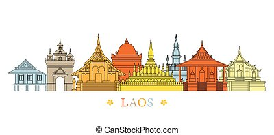 Laos Landmarks Skyline, Line and Colourful - Cityscape,...