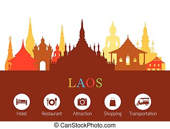 Laos Landmarks Skyline with Accommodation Icons - Cityscape,...
