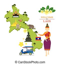 Laos Map and Landmarks with Traditional Dancer - Culture,...
