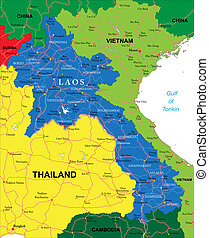 Highly detailed vector map of Laos with administrative regions, main cities and roads.