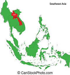 Laos map - Location of Laos on  Southeast Asia