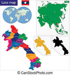 Laos map - Map of Lao People's Democratic Republic with...
