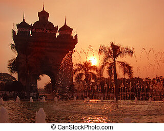 Sunset at Patuxai monument in Vientiane, capital of Laos