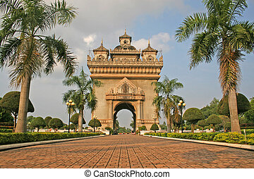 The large victory monument in Vientiane known as Patuxai was modeled on the Arc de Triomphe