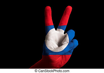 laos national flag two finger up gesture for victory and winner