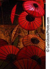 laos, ombrello, mercato, notte