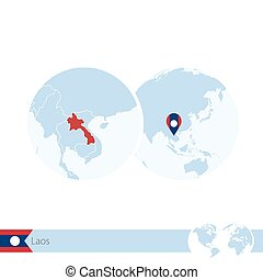 Laos on world globe with flag and regional map of Laos....