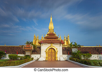 Outside view of Pha That Luang pagoda Vientiane Laos