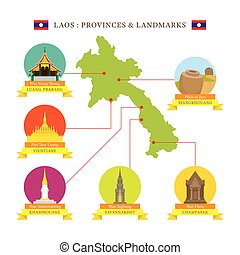 Laos Provinces and Landmarks Icons with Map - Travel and...