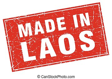 Laos red square grunge made in stamp