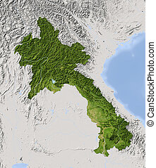 Laos, shaded relief map. Colored according to vegetation. Includes clip path for the state boundary.