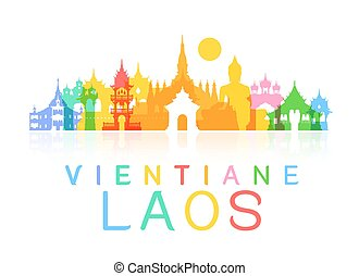 laos Travel Landmarks. Vector and Illustration