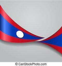 Laos wavy flag. Vector illustration. - Laos flag wavy...