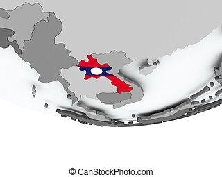 Laos with flag on globe