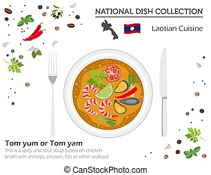 Laotian Cuisine. Asian national dish collection. Tom yum...