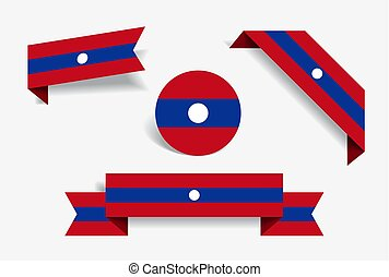 Laotian flag stickers and labels. Vector illustration. -...