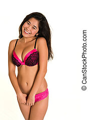 Laotian - Pretty young Laotian woman in hot pink lingerie