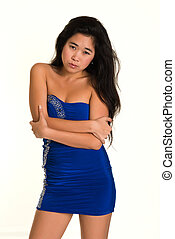 Laotian - Pretty young Laotian woman in a strapless blue...