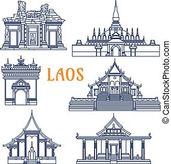 Laotian temples thin line icon for travel design - Popular...