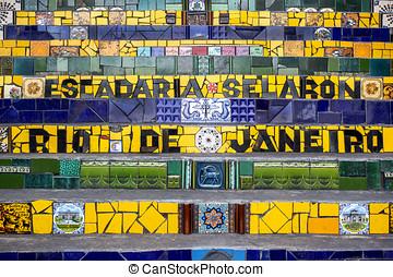 Lapa Steps, Rio de Janeiro, Brazil - Detail of Selaron...